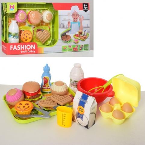 Продукты 326H-33 (24шт) гамбургер, вафли,поднос, посуда, поднос, в кор-ке, 48-25-9см (Китай) - Детские Товары