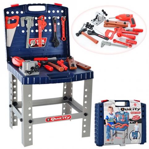 Набор инструментов 008-21 (12шт) чемодан-стол,молоток,штангенц,гаеч.кл,тиски,на бат-ке, 39,5-35-7см рис. 1