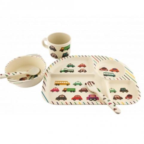 """Посуда детская бамбук """"Автомобили"""" 5пр/наб (2тарелки, вилка, ложка, стакан) MH-2773-12 (12наб) рис. 1"""