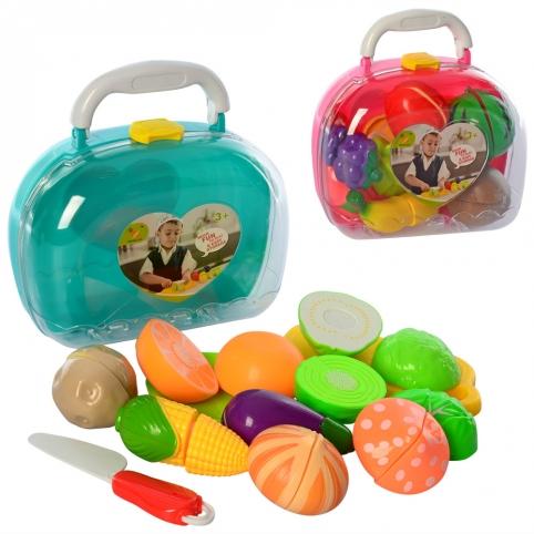 Продукти 756-2A-2B на липучці, тарілка, дощечка, ніж, 2 види (фрукти, овочі), валіза, 20-18-9 см. рис. 1