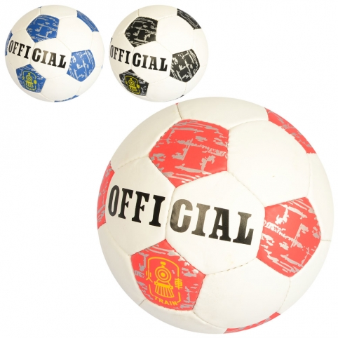 Мяч футбольный OFFICIAL 2500-175 (30шт) размер5,ПУ,1,4мм,32панели, ручн.работа,400-420г,3цвета,в кул рис. 1