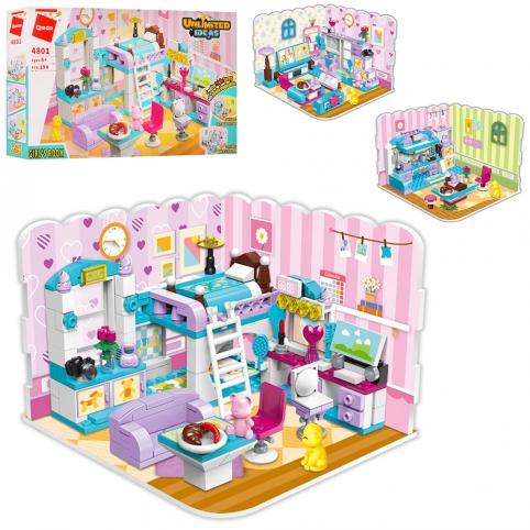 Конструктор Qman 4801 (32шт) 3в1, комната, мебель, фигурки, 194дет, в кор-ке, 31,5-19-5см рис. 1