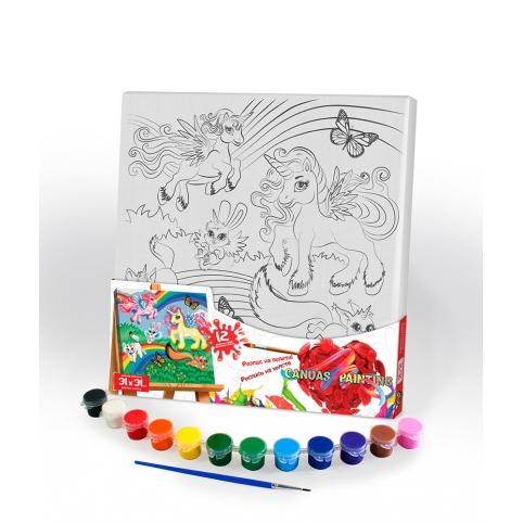 """Креативна творчість """"Розпис на полотні """"Canvas Painting"""" 31см*31см с.5 №2 поні та радуга рис. 1"""