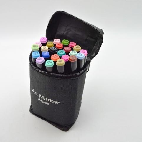 Набор маркеров двухсторонних черный корпус 24цв ST00875 (50наб) рис. 1