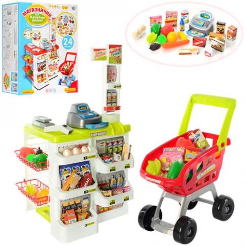 Магазин 668-01-03 (6шт) касса82-48-41см,тележка,звук,свет,продукты,на бат-ке, в кор-ке,60-44-19см рис. 1