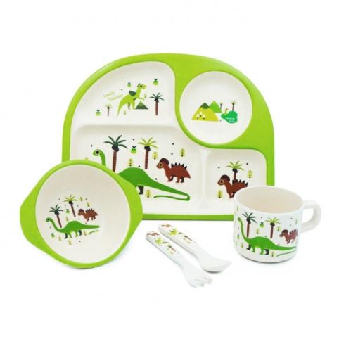 """Посуда детская бамбук """"Динозавры"""" 5пр/наб (2тарелки, вилка, ложка, чашка) MH-2773-4 (12наб) рис. 1"""