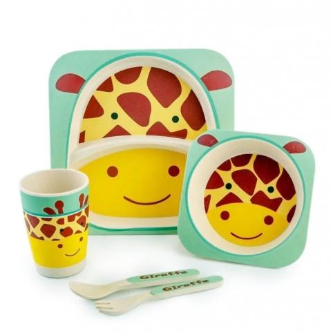 """Посуда детская бамбук """"Жираф"""" 5пр/наб (2тарелки, вилка, ложка, стакан) MH-2770-1 (12наб) рис. 1"""
