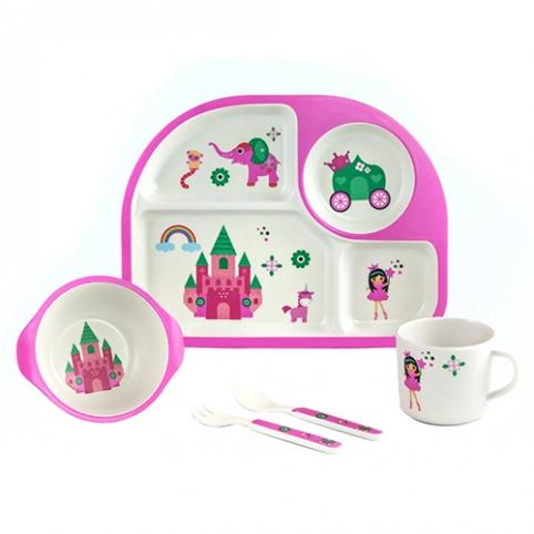 """Посуда детская бамбук """"Замок принцессы"""" 5пр/наб (2тарелки, вилка, ложка, чашка) MH-2773-5 (12наб) рис. 1"""