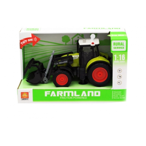 Фрикционный трактор с ковшом , свет, звук - фото 1