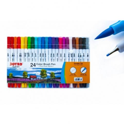 """Фломастери двосторонні (пензлик/лінер) 24 кольори, CLP-07,ТМ"""" Joyko"""""""
