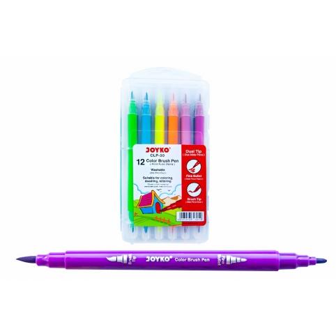 """Фломастери двосторонні (пензлик/фломастер) 12 кольорів, CLP-30,ТМ"""" Joyko"""" рис. 1"""