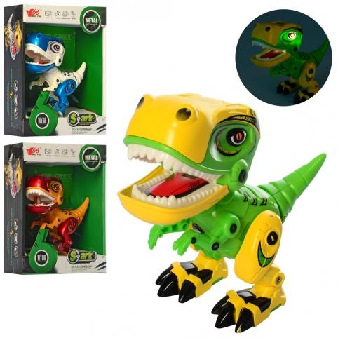 Динозавр MY66-Q1203 (60шт) металл,12см, звук, св, подвиж.дет,3цвет, бат(таб),в кор-ке, 14,5-18-7,5см рис. 1