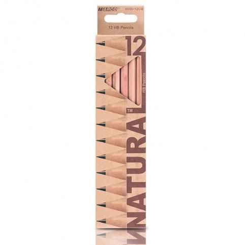 Карандаши графитные 12 шт. НВ шестигранные, Natural - Cedarlite, Marco рис. 1