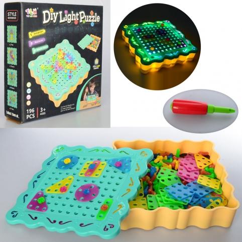 Мозаика TLH-09 (24шт) игр.поле, 196дет, отвертка, свет, на бат-ке, в кор-ке, 24-23,5-6см рис. 1