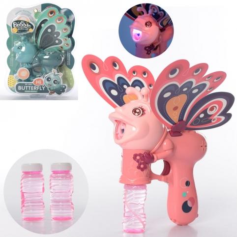 Мильні бульбашки DF-6061 метелик, запаска 2 шт., 2 кольори, муз., світло, бат., бліст., 26-34,5-7 см рис. 1