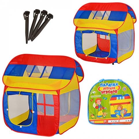 Палатка M 0508  (8шт) домик, 110-92-114см, 2 входа с занавеской, 3 окна-сетка, в сумке, 40-39-5см рис. 1