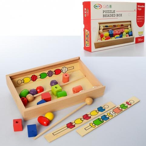 Деревянная игрушка Шнуровка MD 2585 (20шт) на палочке, в пенале,в кор-ке, 29-18-5см рис. 1
