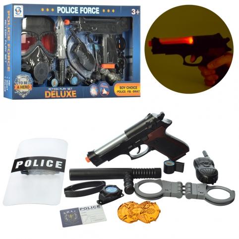 Набір поліцейського HSY-022-23 зброя, 2 види (маска, щит), муз., світло, бат. (табл.), кор., 46-25-5 рис. 1