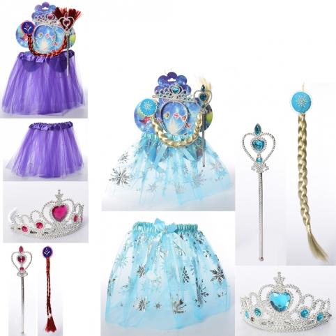 Набор аксессуаров X16191 (50шт) карнавальный, юбка,коса,корона,волш.палочка,2вида,в кульке,45-52-2см рис. 1