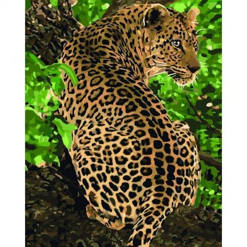 """Набір для розпису по номерах. Тварини, птахи """"Леопард"""" 40*50см рис. 1"""