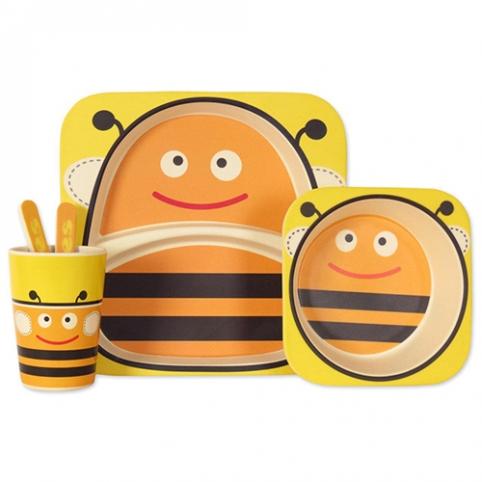 """Посуда детская бамбук """"Пчелка"""" 5пр/наб (2тарелки, вилка, ложка, стакан) MH-2770-3 (12наб) рис. 1"""