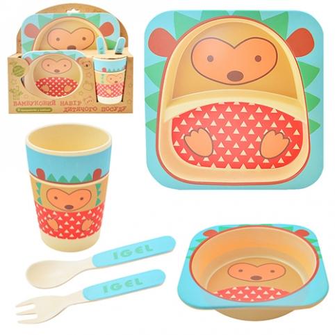 """Посуда детская бамбук """"Ёжик"""" 5пр/наб (2тарелки, вилка, ложка, стакан) MH-2770-21 (12шт) рис. 1"""
