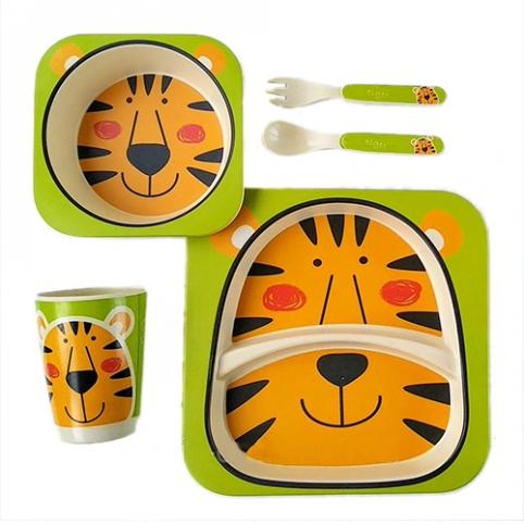 """Посуда детская бамбук """"Тигр"""" 5пр/наб (2тарелки, вилка, ложка, стакан) MH-2770-25 (12шт) рис. 1"""