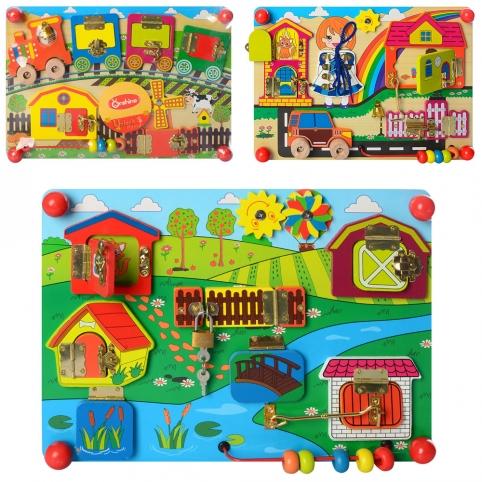 Деревянная игрушка Бизиборд MD 2054 (12шт) лабиринт, замки, 3вида, в кульке, 35-25-5,5см рис. 1