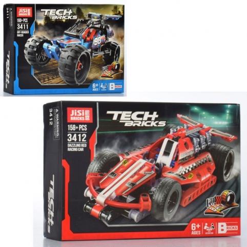 Конструктор 3411-12 (36шт) гоночная машина, 2 вида(160дет, 158дет), в кор-ке, 29,5-20-6см рис. 1