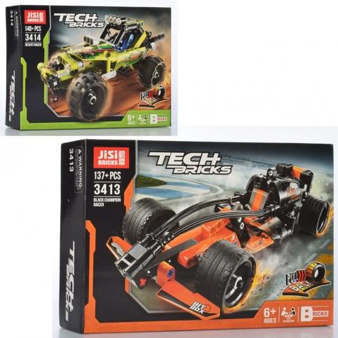 Конструктор 3413-14 (36шт) гоночная машина, 2вида(158дет, 134дет), в кор-ке, 29-19,5-6см рис. 1