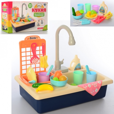 Кухня WD-R42 (18шт) 39,5см,плита, мойка(льется вода),посуда,продукты, 20пр,бат,в кор ,40,5-25-11,5см рис. 1