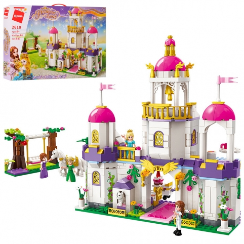 Конструктор Qman 2610 (12шт) замок принцессы,фигурки, 587дет, в кор-ке, 52-34-6,5см рис. 1