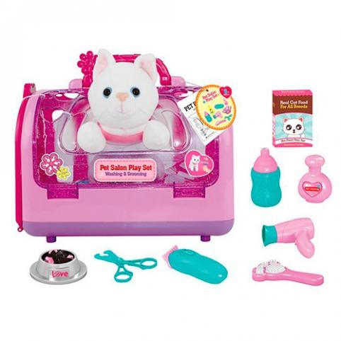 Животное T803-1 (12шт) кот,фен,бутылочка,расческа,ножницы,в чемодане,в кульке,25-19-18см рис. 1