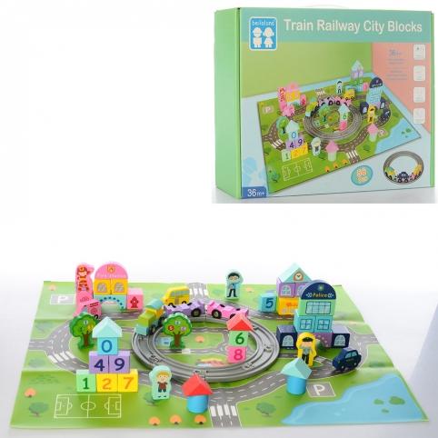 Деревянная игрушка Городок MD 2427 (18шт) город,транспорт,жд,фигурки,игровое поле, в кор, 30-22-6см рис. 1