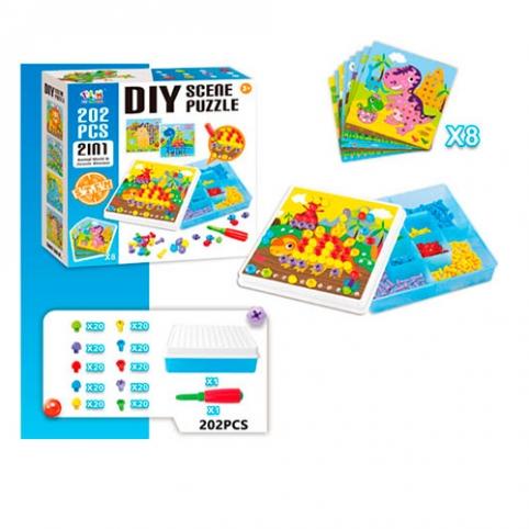 Мозаика TLH-20 (24шт) карточки 8шт, шурупы, отвертка, 202дет, в кор-ке, 26-26-8см рис. 1