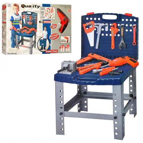 Набор инструментов 008-22 (12шт) чемодан-верстак,дрель-вращ.сверло,на бат, 57дет,в кор,58-36-7,5см рис. 1