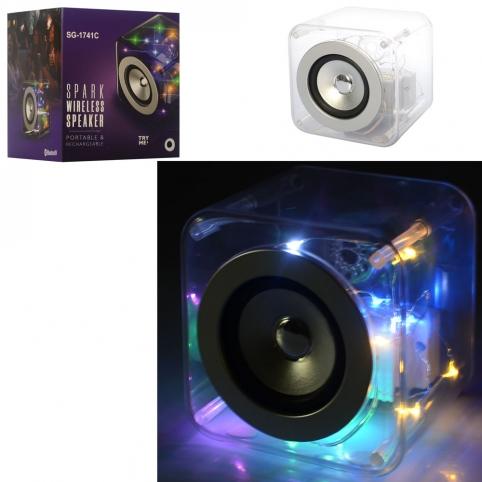 Колонка SG-1741C (24шт) куб12,5см,аккум, bluetooth, MP3, 2режима света,USBзаряд,в кор-ке, 16-17-15см рис. 1