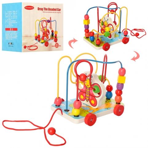 Деревянная игрушка Лабиринт MD 2387 (48шт) на проволоке, каталка, в кор-ке, 18-16,5-14см рис. 1