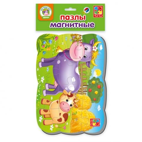 """Пазлы на магните А5 """"Корова и теленок"""" VT3205-55 рис. 1"""