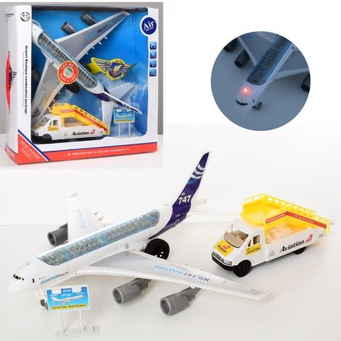 Аэропорт 747-30A (12шт) самолет33см-инер,звук,свет,машина-трап,дорож.зн,бат(таб),кор, 33-32,5-10,5см рис. 1