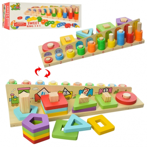Деревянная игрушка Геометрика MD 2068 (36шт) сложение, 70дет, в кор-ке, 35-12-8см рис. 1