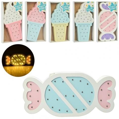 Деревянная игрушка Ночник MD 2075 (24шт) 30см,2в(мороженое/конфета)/микс цв,св,бат,кор,16-31-3,5см рис. 1