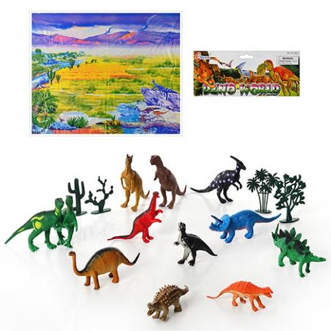 Динозавры 282 (48шт) 12шт, игровое поле, растения, в кульке, 35-25,5-7см рис. 1
