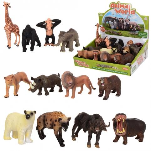 Животные TBS021 (144шт) дикие животные, от 9см, 12шт(12видов) в дисплее, 23,5-22,5-8см рис. 1