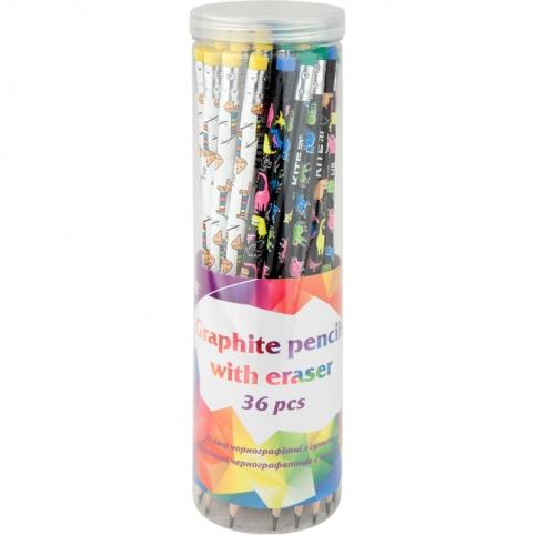 Олівець графітний з гумкою, 36шт., туба Kite рис. 1