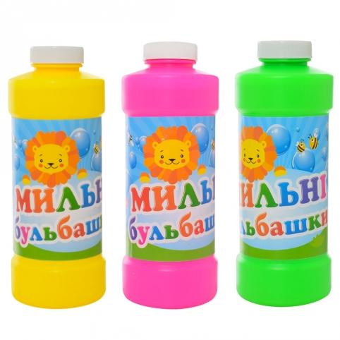 Запаска к мыльным пузырям 909 (24шт) 500мл, с палочкой, 3 цвета, 18-7-7см рис. 1