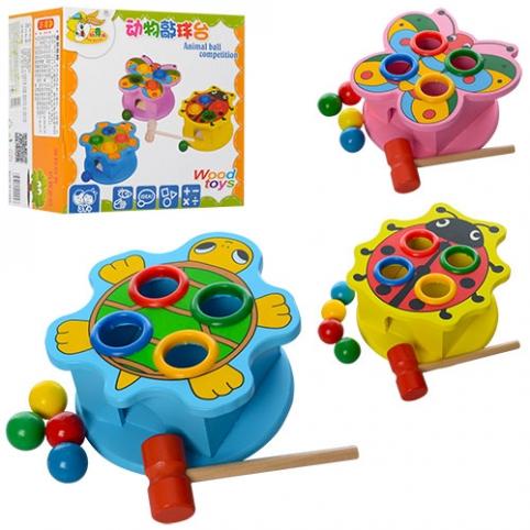 Деревянная игрушка Стучалка MD 0045 (60шт) молоток, шарики4шт, 3 вида, в кор-ке,19-18-12см рис. 1