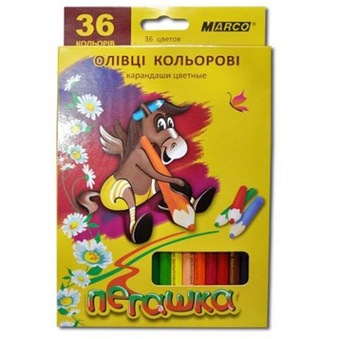 Карандаши 36 цветов шестигранные , Пегашка, Marco рис. 1