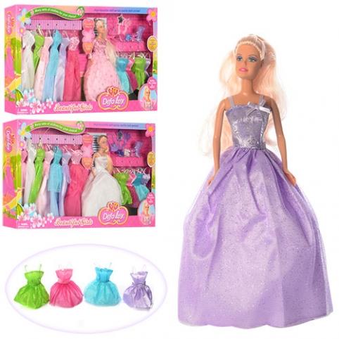 Кукла DEFA 8027 (12шт)  29см, платья 11шт,обувь,сумочка,расческа,зеркало,3вида,в кор-ке,66,5-35-6см рис. 1