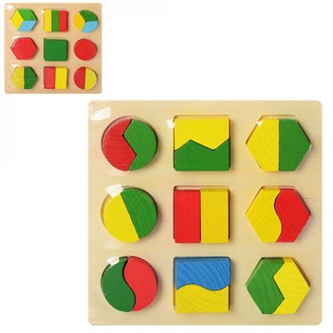 Деревянная игрушка Геометрика MD 0716 (75шт) 2 вида, в кульке, 18-18-2 см рис. 1